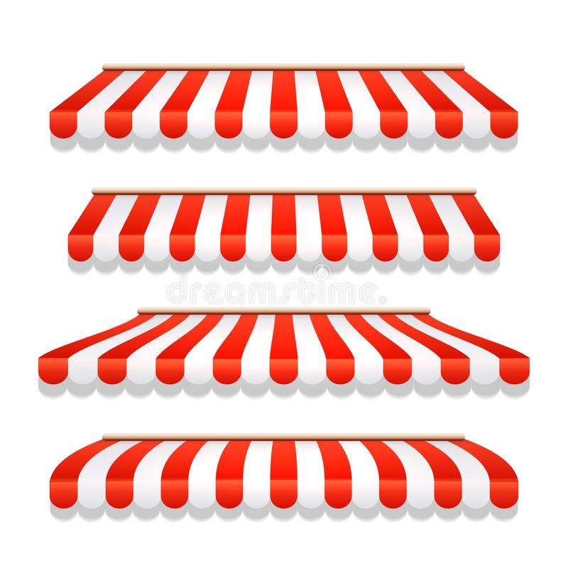 Free Store Awning Shop Canopy. Store Tent Red Striped Roof Front View. Restaurant, Grocery Or Cafe Awning Street Umbrella Royalty Free Stock Photo - 147314555
