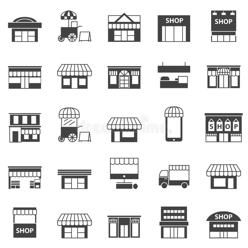 Store and building icon set. Store and building icon Black vector set stock illustration
