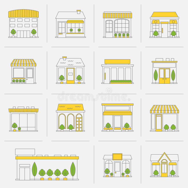 Store building icons set flat line. Store shop business buildings flat line icon set isolated vector illustration stock illustration