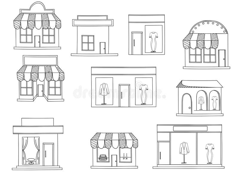 Store Buildings Coloring Book Vector Stock Vector Image 71925997