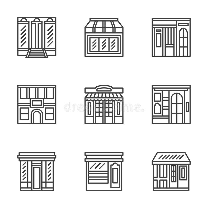 Store and cafe fronts flat line icons. Commercial architecture design symbols. Storefront, facade, showcase, outdoor cafe. Flat black line icons set. Design stock illustration