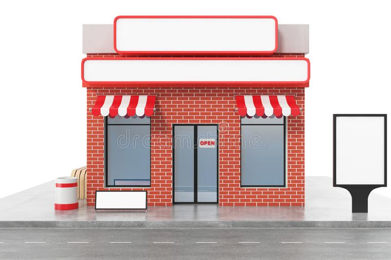 Store with copy space board isolated on white background. Modern shop buildings, store facades. Exterior market stock illustration