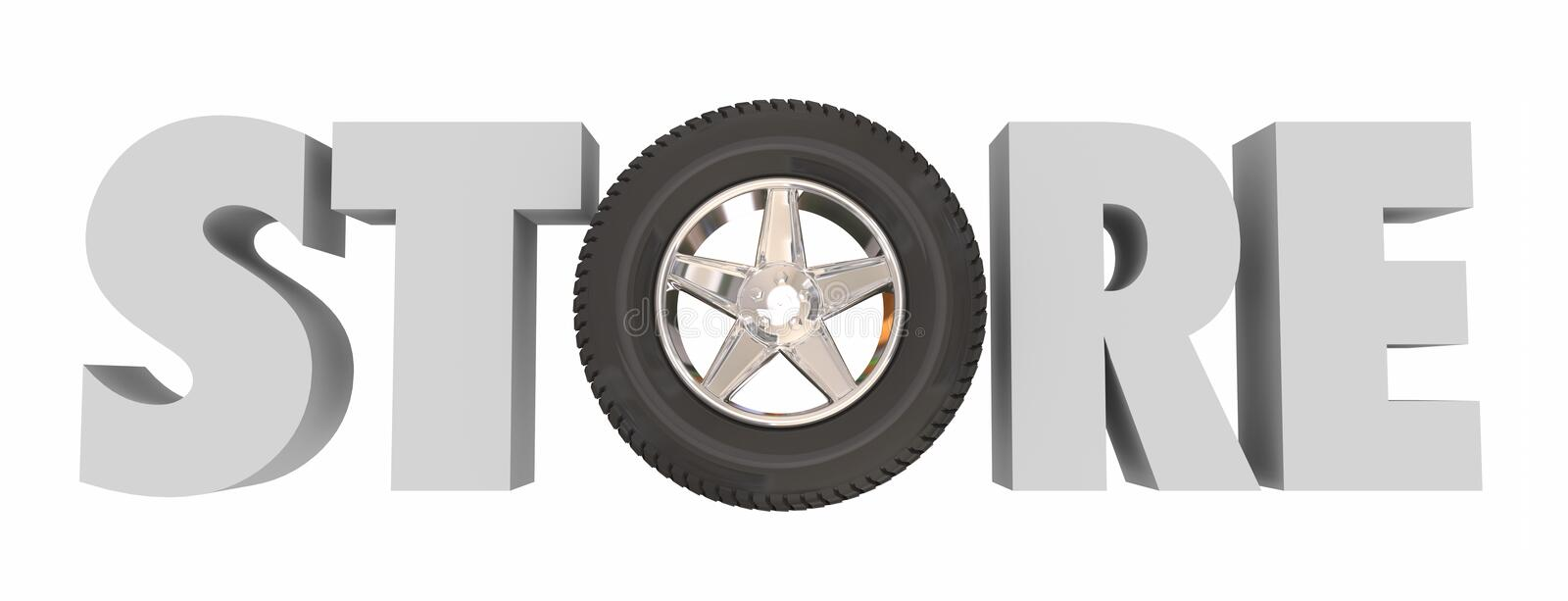 Store 3d Word Wheel Tire Auto Supply Parts Shop vector illustration