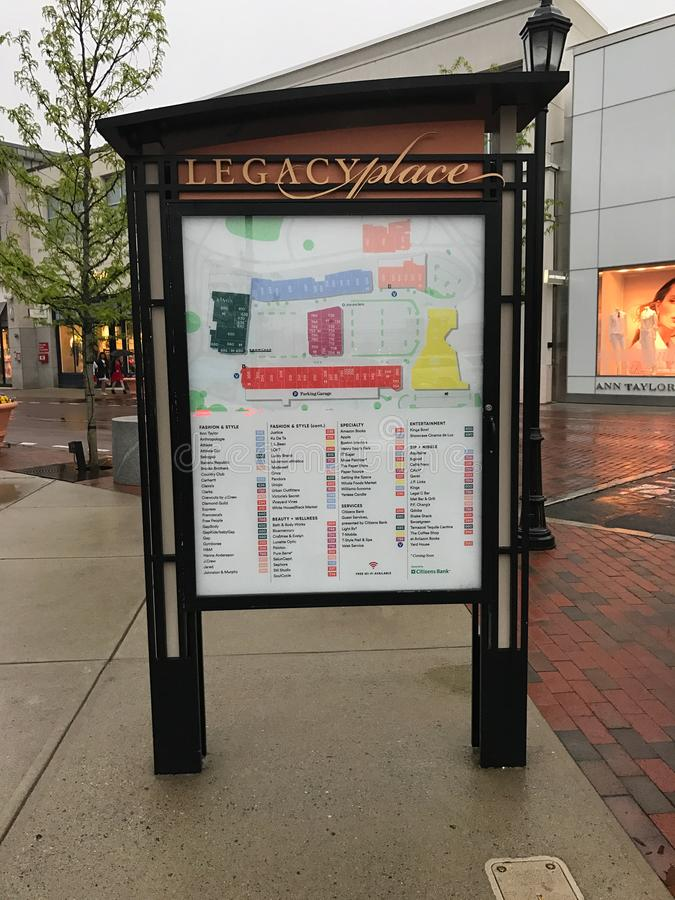 Legacy Place Directory. Store Directory for Legacy Place in Dedham, Massachusetts royalty free stock photography