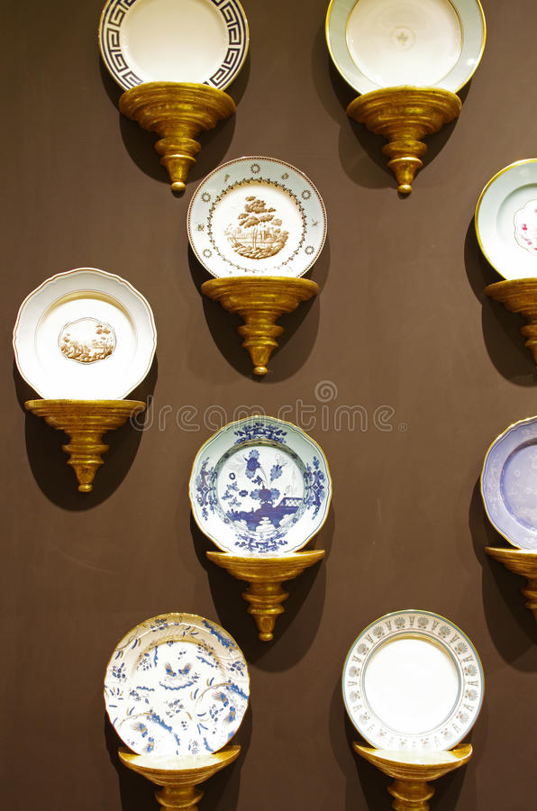 Store display of dishes stock image