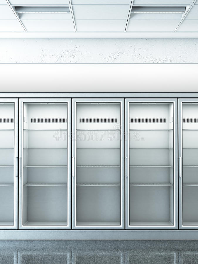 Store with an empty fridge. 3d rendering vector illustration