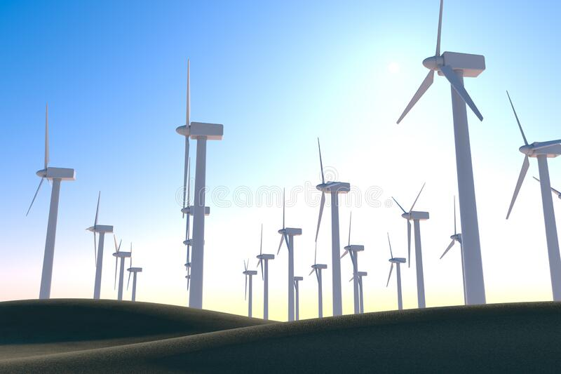 Store energy with wind turbines. Think about the natural environment. 3D illustration. Install a wind turbine in consideration of the global environment. Huge vector illustration