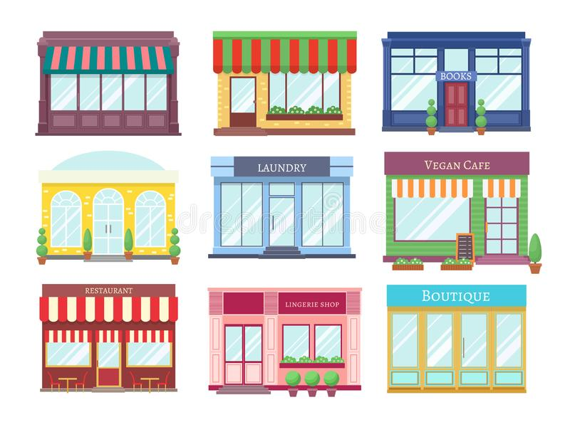 Store flat buildings. Cartoon shop facade with showcase boutique retail building storefront restaurant houses. Shopping. Vector set stock illustration