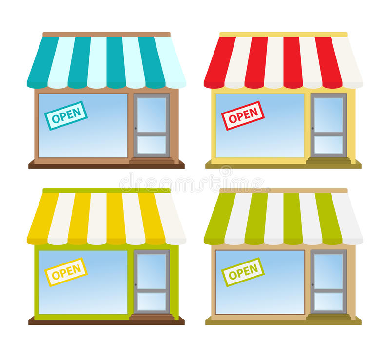 Store Front. Four color store fronts with open sign vector illustration