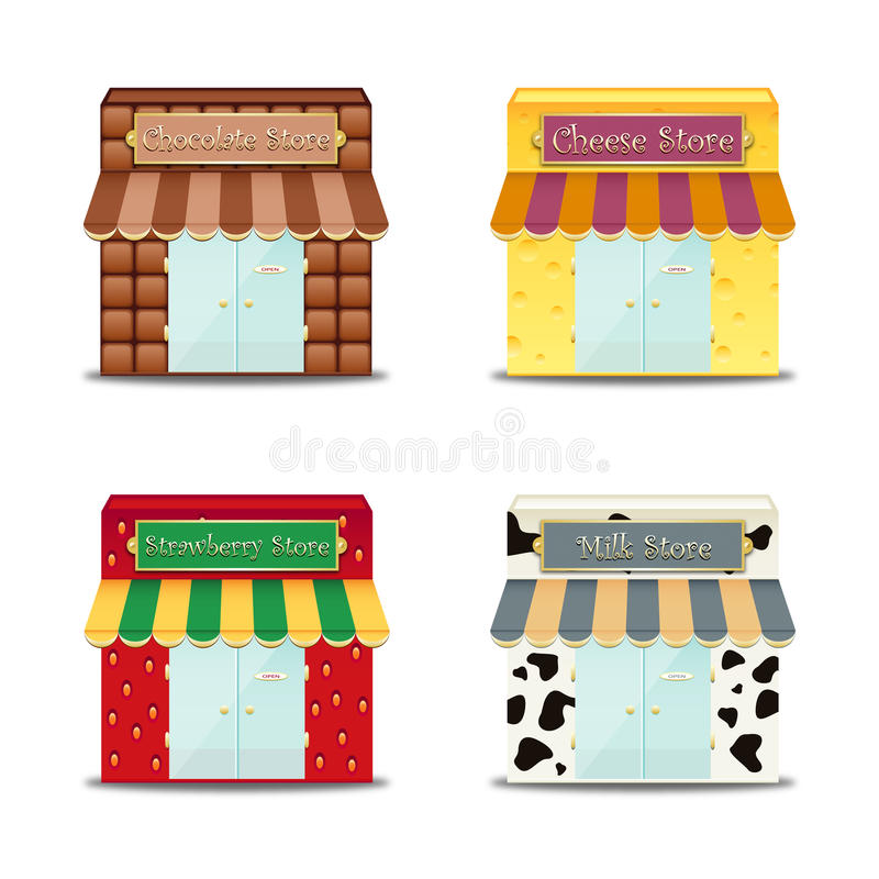 Store Front Illustrations. Illustrations of various store fronts. Isolated against a white background royalty free illustration