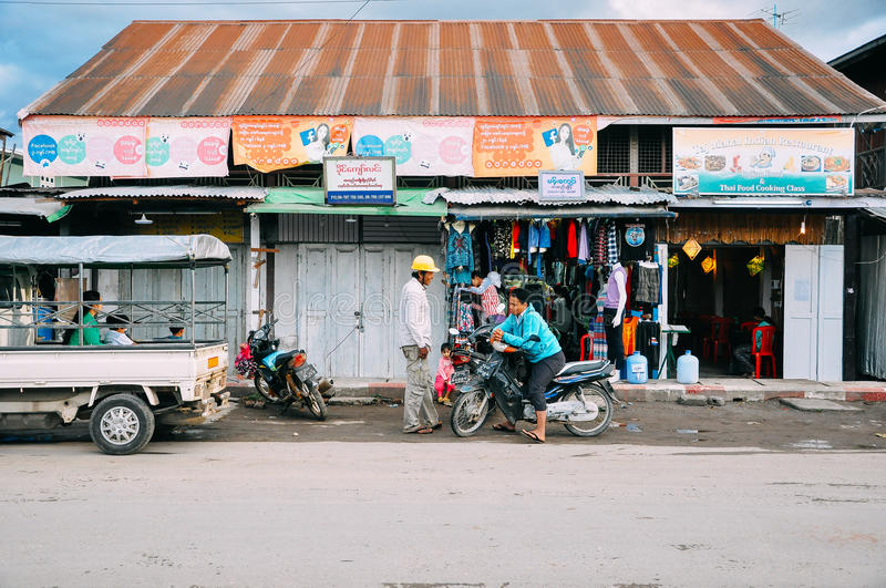 Store front in Nyaungshwe. stock image