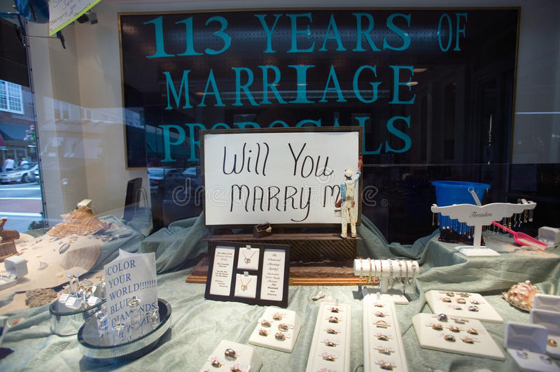 Store front reads �Will you Marry Me� in Mount Airy, North Carolina, the town featured in �Mayberry RFD� royalty free stock images