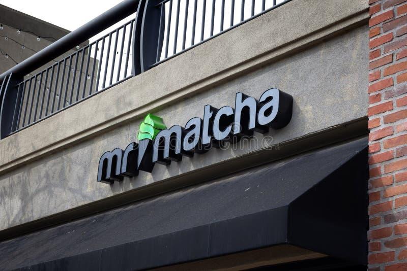 Mr. Matcha restaurant sign stock photo