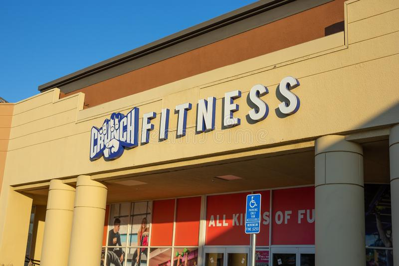 Store front sign for Crunch Fitness royalty free stock images