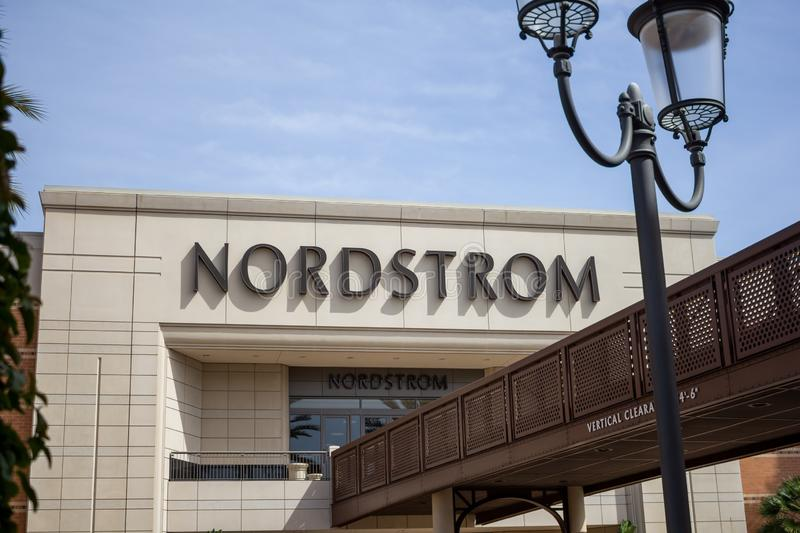 Nordstrom department store sign. A store front sign for the department clothing store known as Nordstrom royalty free stock photos
