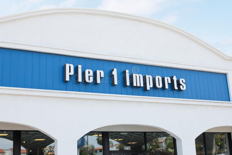 Pier 1 Imports department store sign. A store front sign for the department store known as Pier 1 Imports stock image