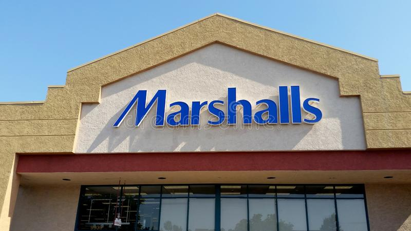 Marshalls department store sign. A store front sign for the mark down department store chain known as Marshalls stock image