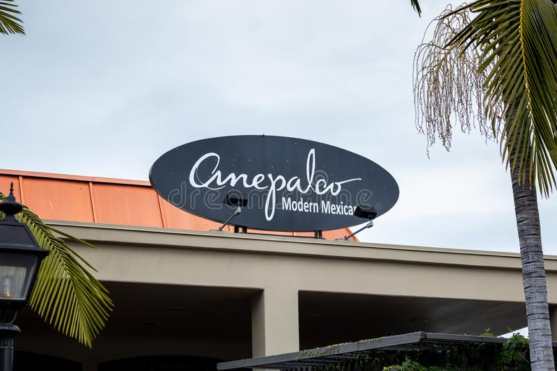 Anepalco Modern Mexican restaurant sign royalty free stock photography
