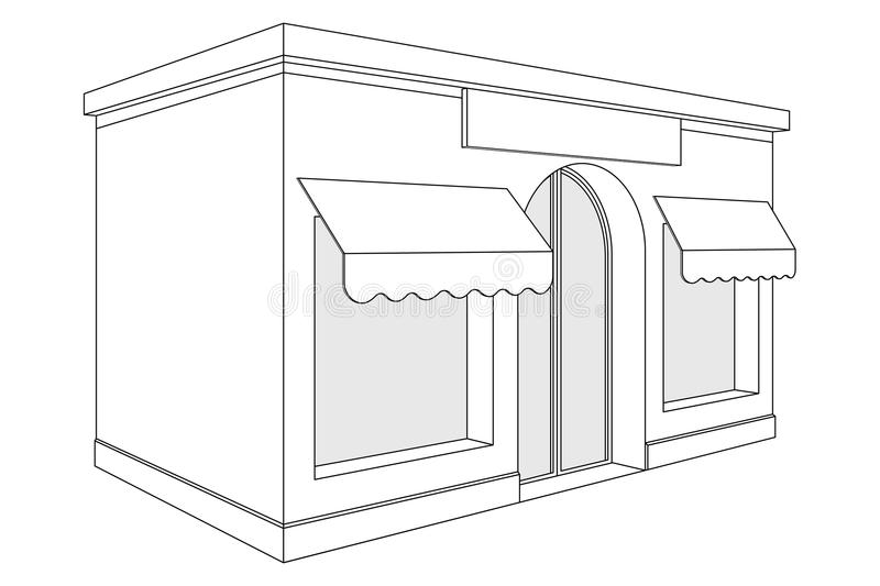 Store front. Small shop with large window and awnings. Outline drawing vector illustration