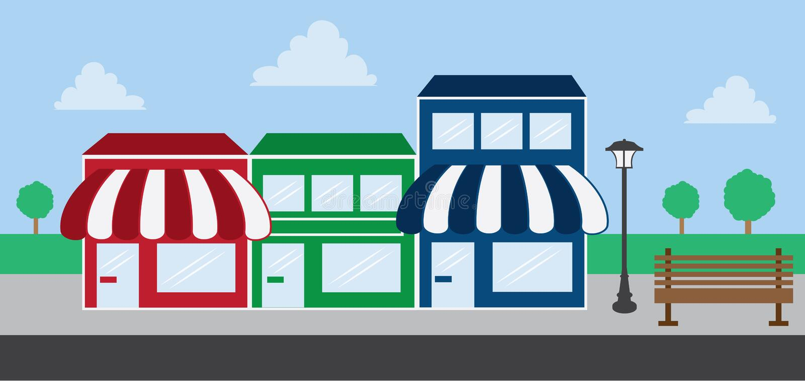 Download Store Front Strip Mall stock vector. Illustration of market - 24267484