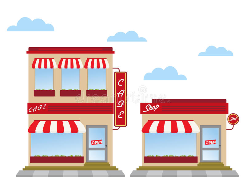 Store fronts. Cafe and shop store fronts stock illustration