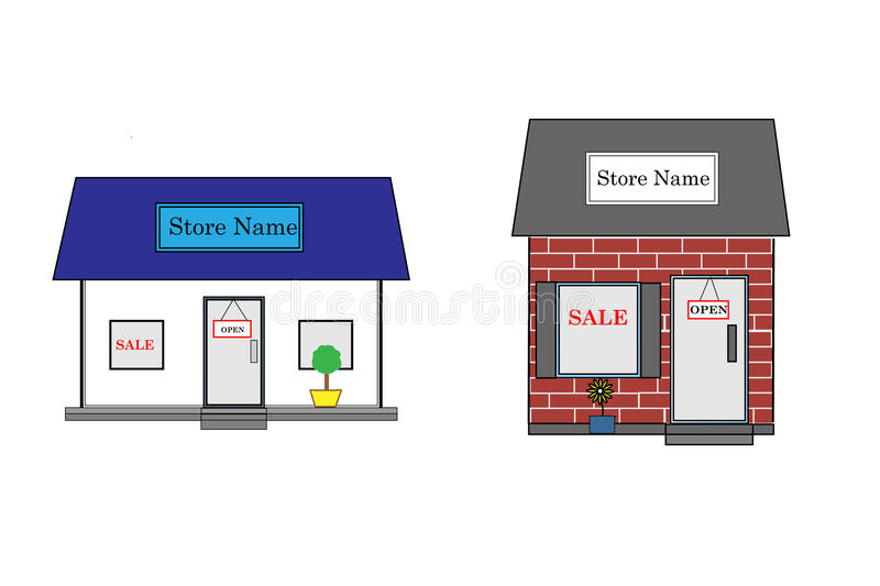 Store Fronts. Vector image store fronts. Two store fronts where you can add your own name to the the front of the store. One store is white and one is brick vector illustration
