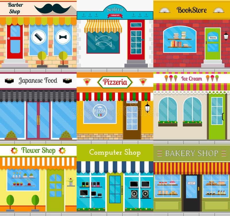 Store fronts and building facades set. Set of different store fronts in flat style. Vector illustration of city public buildings square architecture. Collection vector illustration