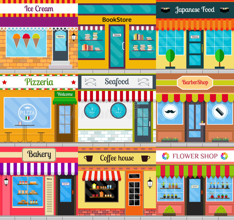 Store fronts and building facades set. Set of different store fronts in flat style. Vector illustration of city public buildings square architecture. Collection stock illustration
