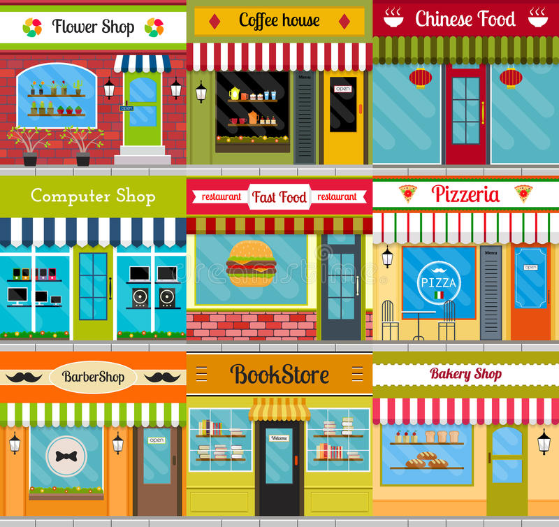 Store fronts and restaurant facades set. Set of different store fronts in flat style. Vector illustration of city public buildings square architecture vector illustration