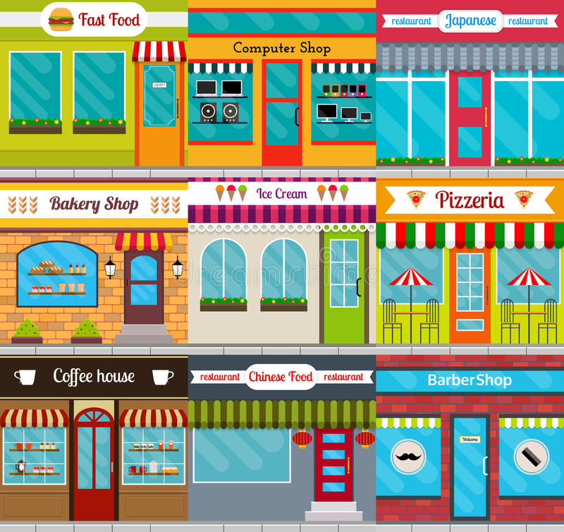 Store fronts and restaurants facades set. Set of different store fronts in flat style. Vector illustration of city public buildings square architecture stock illustration