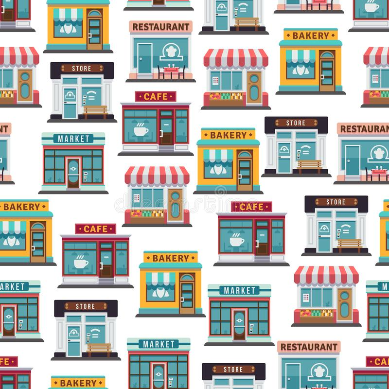 Store fronts seamless pattern - cafe, restaurant, market. Seamless texture. Vector illustration royalty free illustration