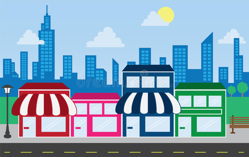 Store Fronts and Skyline Buildings. Store front strip mall stores and city skyline stock illustration