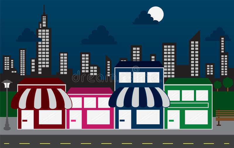 Store Fronts and Skyline Buildings at night. Store front strip mall stores and night city skyline stock illustration