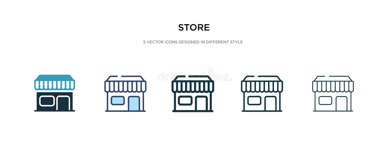 Store icon in different style vector illustration. two colored and black store vector icons designed in filled, outline, line and vector illustration