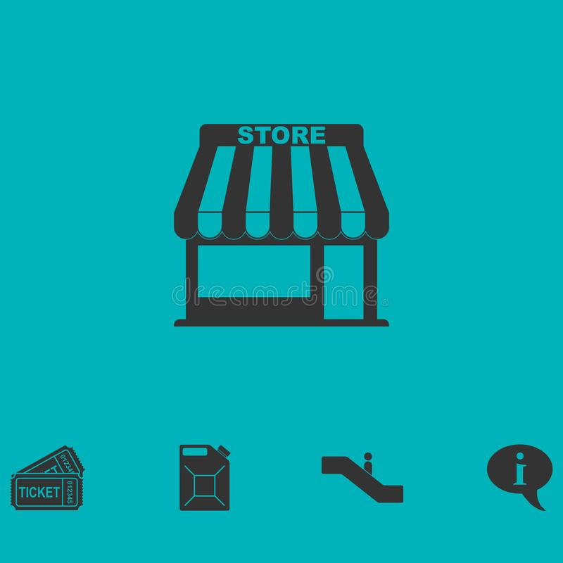 Store icon flat. Simple vector symbol and bonus icon royalty free illustration