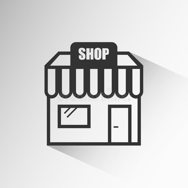 Store icon with long shadow on grey background stock illustration