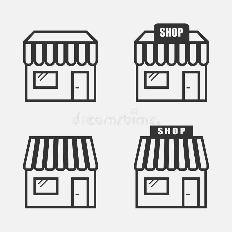 Store icon set on grey background. Vector illustration. royalty free illustration