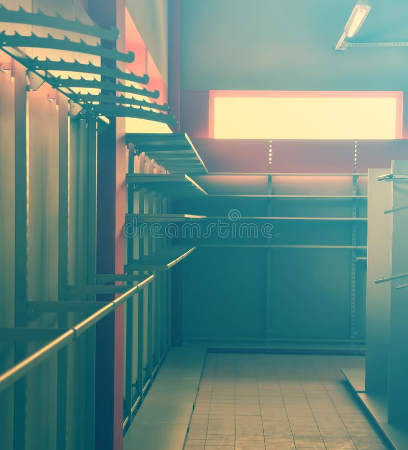 Store interior. With empty shelves royalty free stock images
