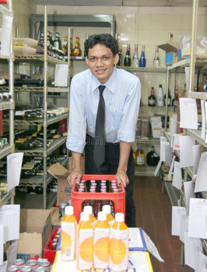 Store keeper at work royalty free stock photography