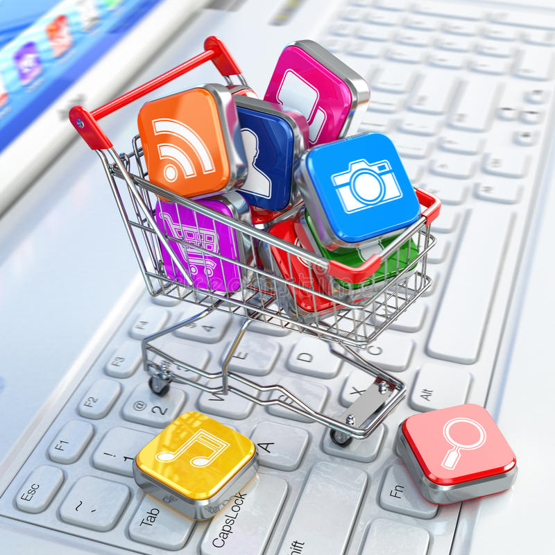 Store of laptop software. Apps icons in shopping cart. 3d royalty free illustration