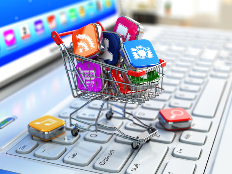 Store of laptop software. Apps icons in shopping cart. vector illustration
