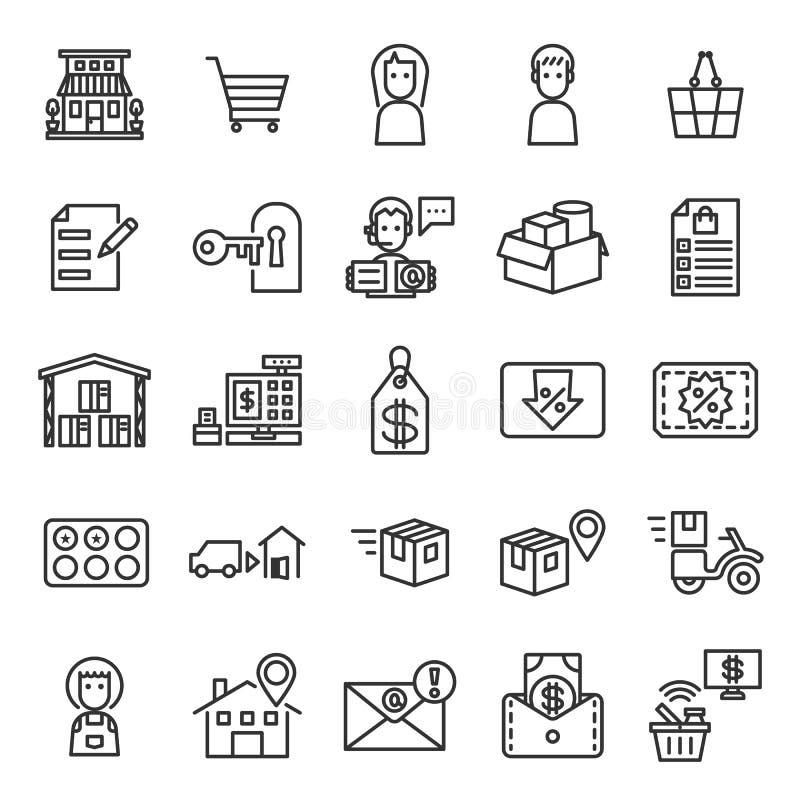 Store Management System Outline Icon Set stock illustration