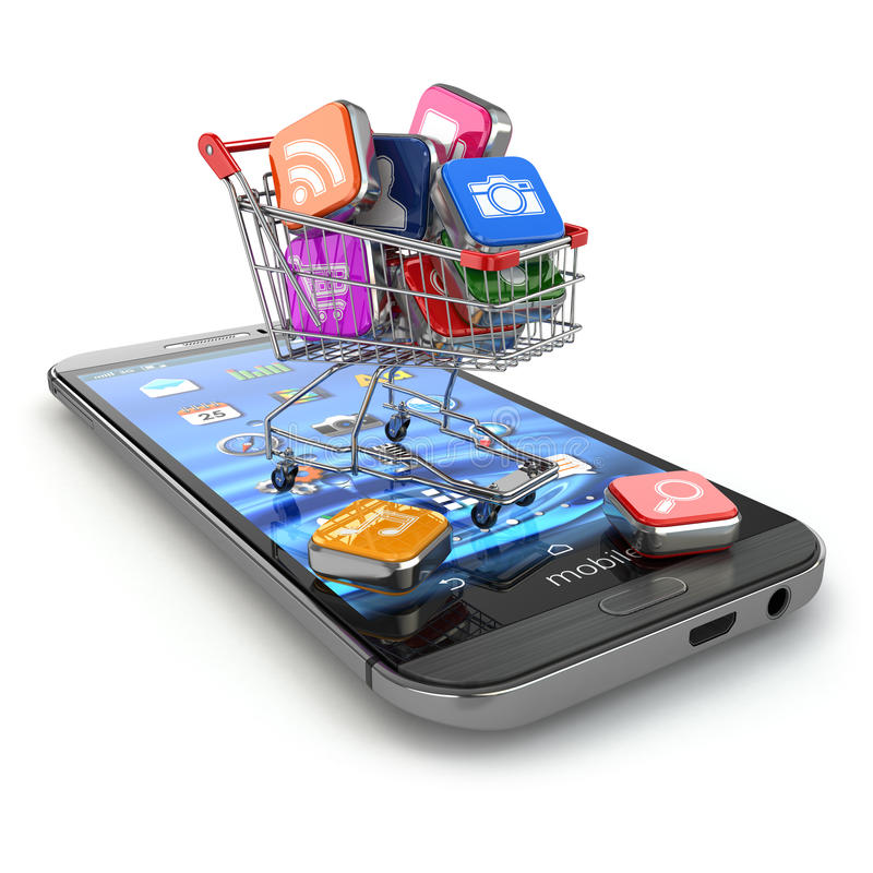 Store of mobile software. Smartphone apps icons in shopping cart stock illustration