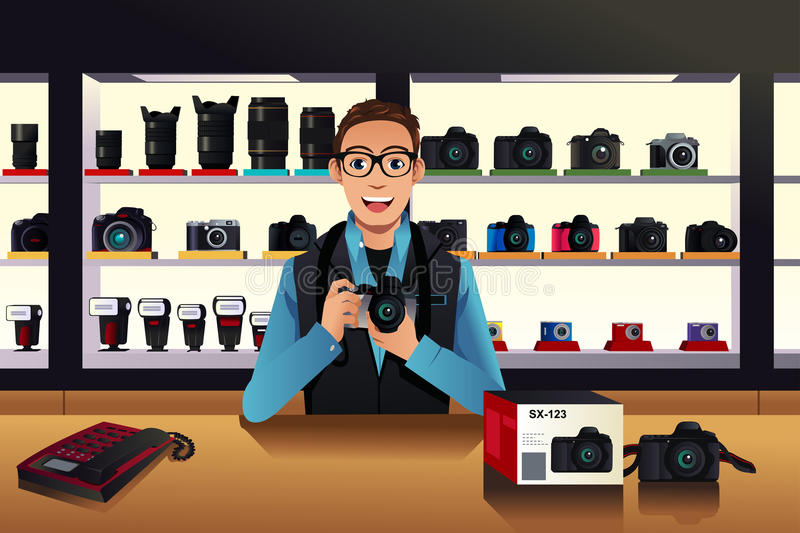 Store owner in a camera store vector illustration