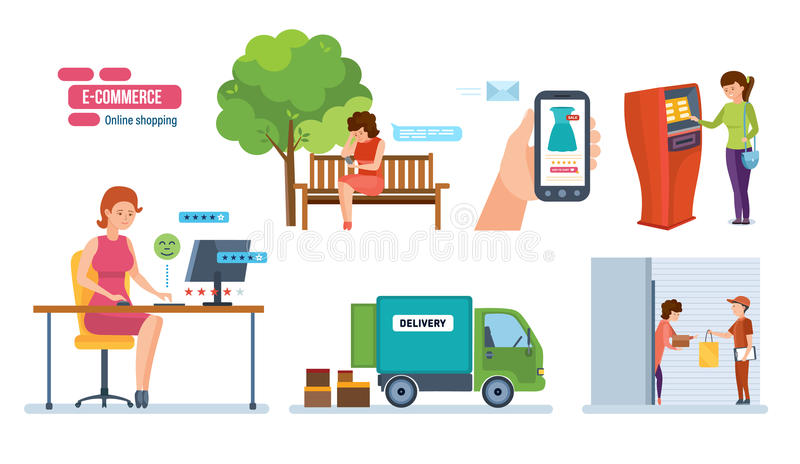 Store, payment of order, delivery, receipt of order, feedback, rating. vector illustration