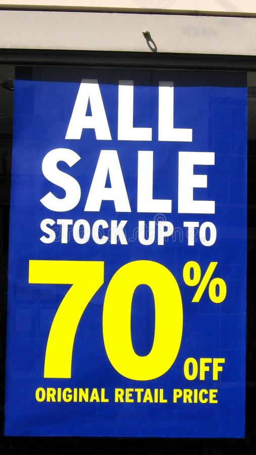 Store sale sign. All sale stock up to 70% off original price. All sale stock up to 70% off original retail price stock images