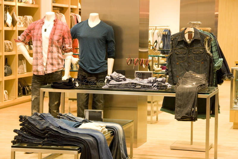Man jean clothing fashion store stock photos