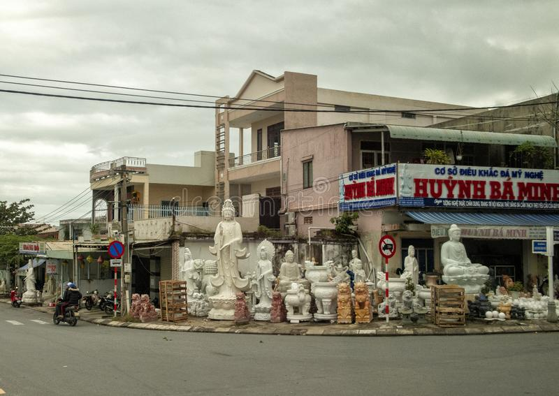 Store selling stone sculptures in a small town near Da Nang, Vietnam. Pictured is a store selling stone sculptures in a small town near Da Nang, Vietnam.  The royalty free stock images