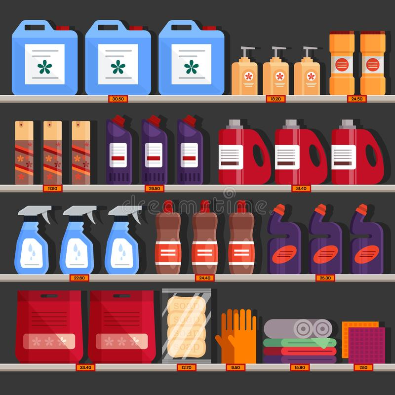 Store shelves with household chemical products. Household supplies aisle, cleaning agents in the supermarket used for stock illustration
