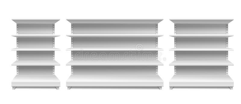 Store shelves. White supermarket retail rack display shop shelving blank seamless shelves empty showcase isolated vector. Mockup vector illustration